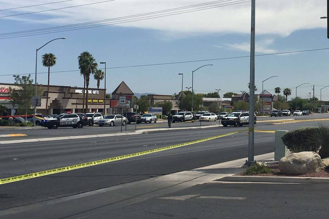 Las Vegas police are investigating an officer-involved shooting near Rainbow and Charleston boulevards, Monday afternoon, Sept. 3, 2018. (Michael Scott Davidson/Las Vegas Review-Journal)