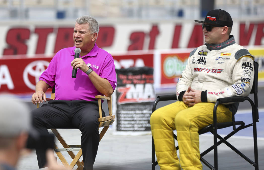 Las Vegas Motor Speedway president Chris Powell, left, talks about the new track alongside driver Richie Crampton at The Strip at LVMS ahead of the DENSO Spark Plugs NHRA Nationals in Las Vegas on ...