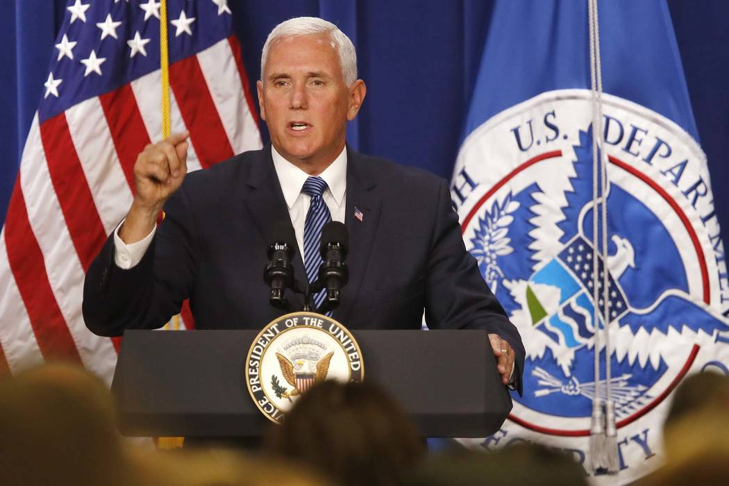 Vice President Mike Pence speaks at U.S. Immigration and Customs Enforcement at ICE headquarters, Friday, July 6, 2018, in Washington. (Jacquelyn Martin/AP)