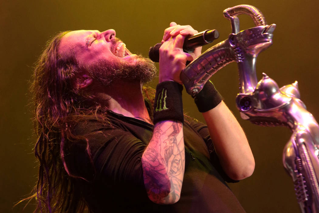 Jonathan Davis of the band Korn performs in concert during the Rock Allegiance Festival at PPL Park on Saturday, Oct. 10, 2015, in Chester, Pa. (Photo by Owen Sweeney/Invision/AP)