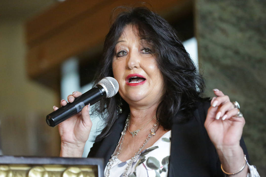 Trish Marsh, candidate for Clark County Commissioner District E, speaks to attendees of the Nevada Republican Men's Club luncheon at the Bali Hai Golf Club on Tuesday, September 4, 2018. Mi ...