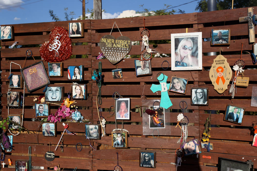 The Remembrance Wall at Las Vegas Community Healing Garden on South Casino Center Boulevard in downtown Wednesday, Sept. 5, 2018. K.M. Cannon Las Vegas Review-Journal @KMCannonPhoto