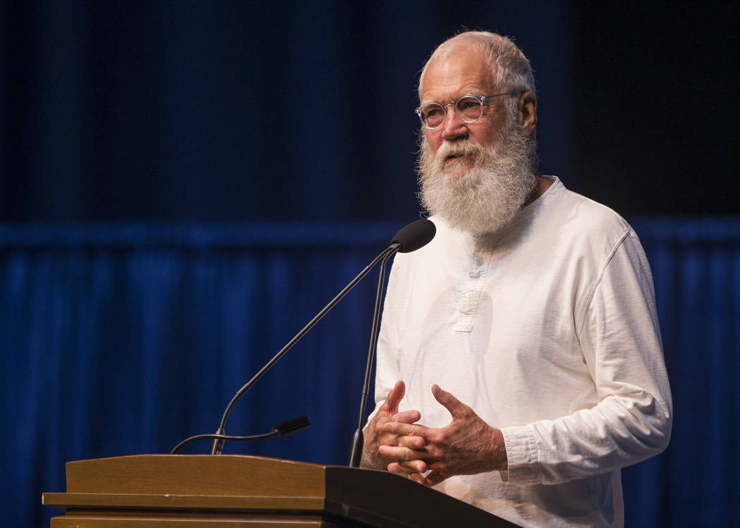 Former late night television host David Letterman speaks during the opening ceremony event for the Jimmy & Rosalynn Carter Work Project on Sunday, Aug. 26, 2018, inside the University of Notre ...