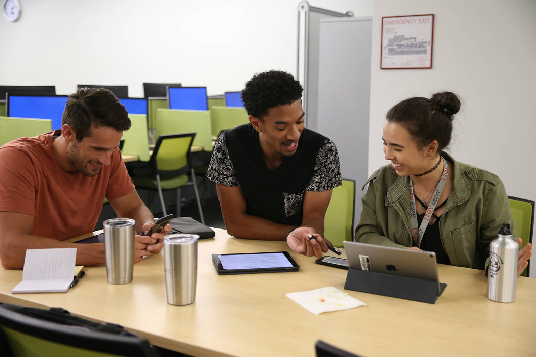 Medical students Trevor Orr, from left, Donnis Davis, and Maiko Suarez, work in the in the UNLV Shadow Lane Campus library in Las Vegas, Wednesday, Sept. 5, 2018. Erik Verduzco Las Vegas Review-Jo ...