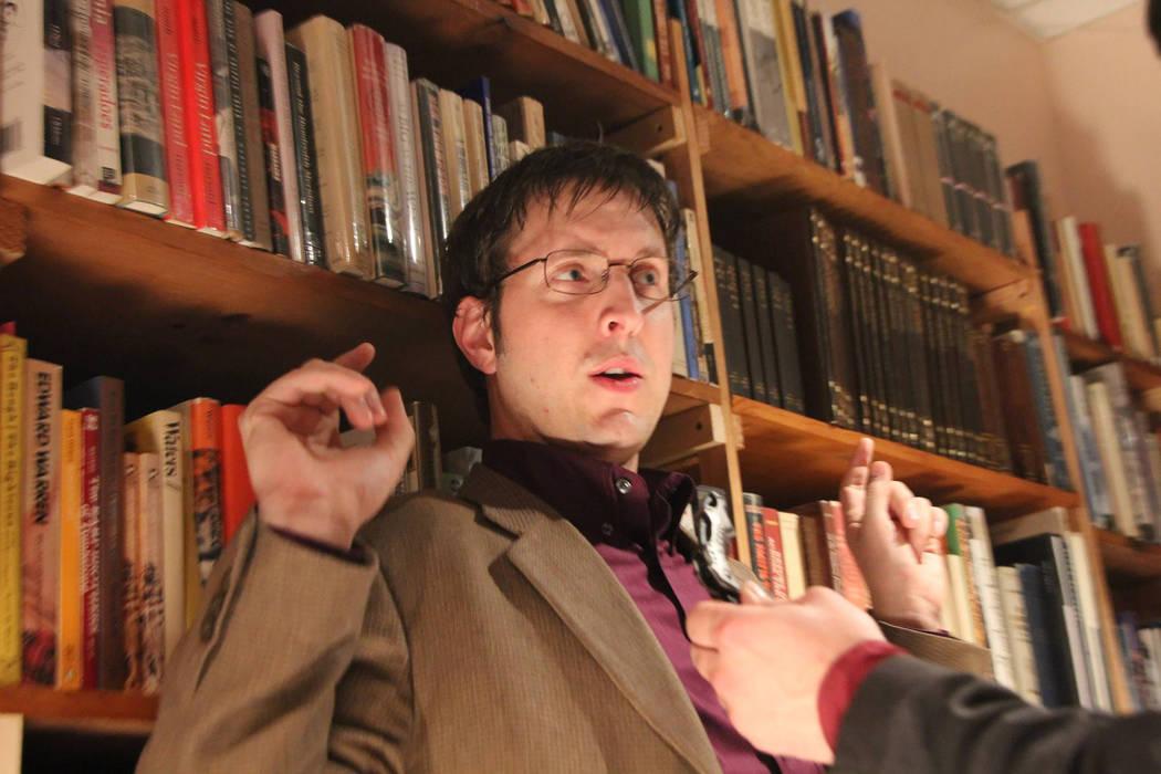 "Actor Ben Stobber on the set of ""Unwritten,"" which was filmed inside Amber Unicorn Books. (Unwritten)"