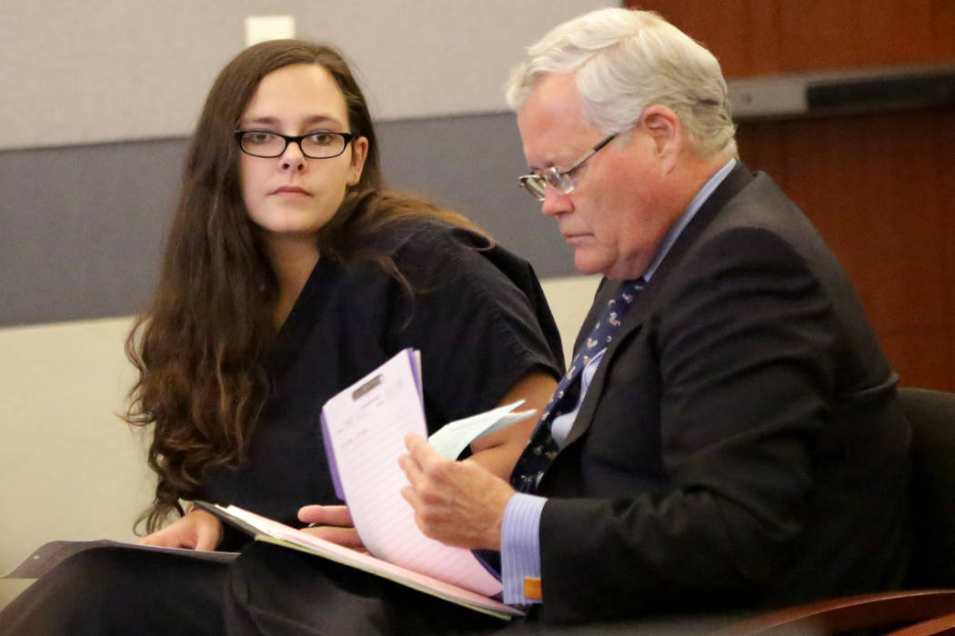 Cassie Smith, left, who faces charges in the death of her 3-year-old son, Daniel Theriot, appears in court with attorney Scott Bindrup on Wednesday, Sept. 5, 2018. (Michael Quine/Las Vegas Review- ...
