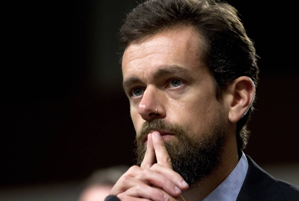 Twitter CEO Jack Dorsey testifies before the Senate Intelligence Committee hearing on 'Foreign Influence Operations and Their Use of Social Media Platforms' on Capitol Hill, Wednesday, Sept. 5, 20 ...