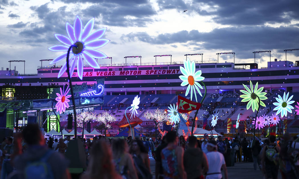 Attendees crowd the festival grounds as the third day of the Electric Daisy Carnival kicks off at the Las Vegas Motor Speedway in Las Vegas on Sunday, May 20, 2018. Chase Stevens Las Vegas Review- ...