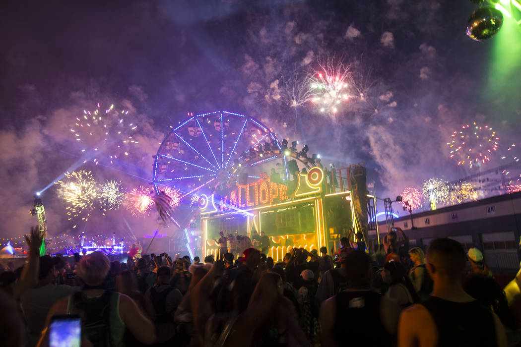 Fireworks go off above the Kalliope art car during the third day of the Electric Daisy Carnival at the Las Vegas Motor Speedway in Las Vegas during the early hours of Monday, May 21, 2018. Chase S ...
