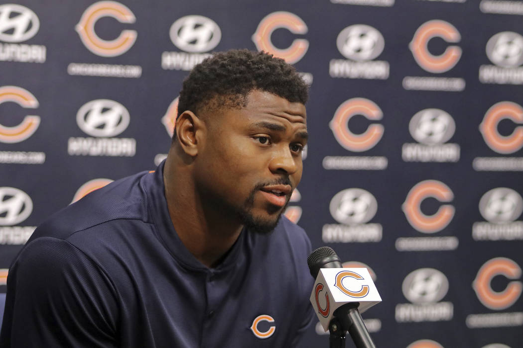 Newly acquired Chicago Bears player Khalil Mack speaks with the media during an NFL football news conference Sunday, Sept. 2, 2018, at Halas Hall in Lake Forest, Ill. (Tim Boyle/Chicago Sun-Times ...