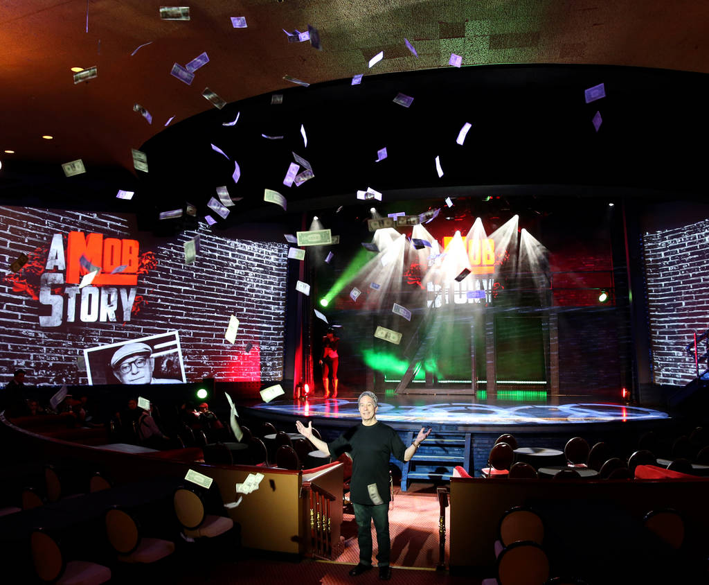 """A Mob Story"" co-producer and director Jeff Kutash tests a money drop Thursday, Sept. 13, 2018, that will take place during his new musical at Plaza Showroom. K.M. Cannon Las Vegas Review-Journal ..."