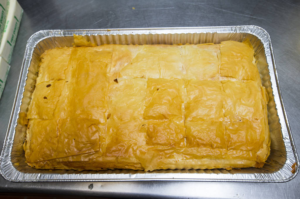 Bougatsa out of the oven at St. John the Baptist Greek Orthodox Church ahead of the annual Las Vegas Greek Food Festival, slated to begin Sept. 14, in Las Vegas on Saturday, Aug. 25, 2018. Chase S ...