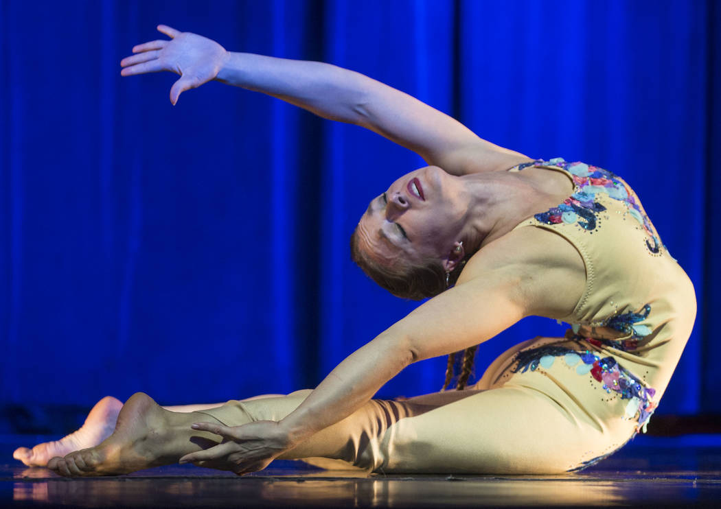 """Katarina Danks performs """"Fragile"""" during the International Congress of Contortionists on Wednesday, Sept. 5, 2018, at Sunset Station, in Las Vegas. Benjamin Hager Las Vegas Review-Journa ..."""
