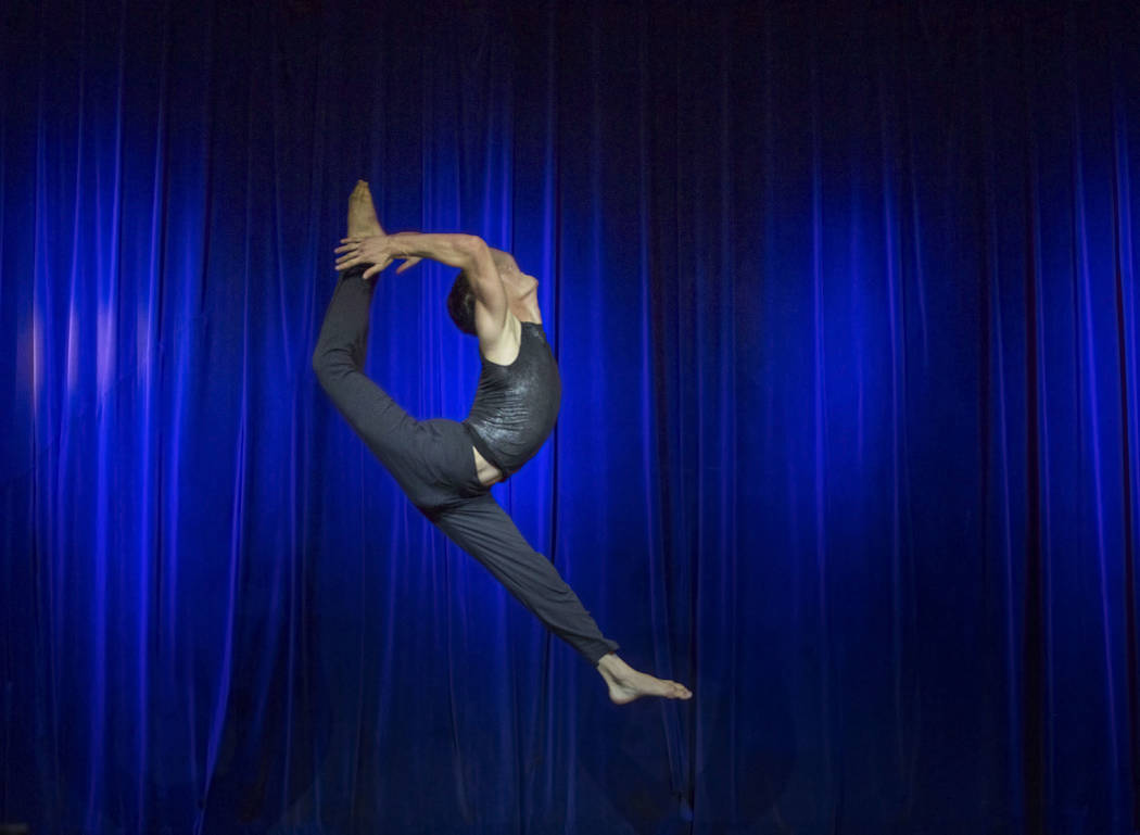 """Tyler Jacobson performs """"Haven"""" during the International Congress of Contortionists on Wednesday, Sept. 5, 2018, at Sunset Station, in Las Vegas. Benjamin Hager Las Vegas Review-Journal ..."""