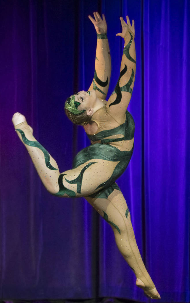 """Stephanie Doncals performs """"Sancto Spiritu"""" during the International Congress of Contortionists on Wednesday, Sept. 5, 2018, at Sunset Station, in Las Vegas. Benjamin Hager Las Vegas Rev ..."""
