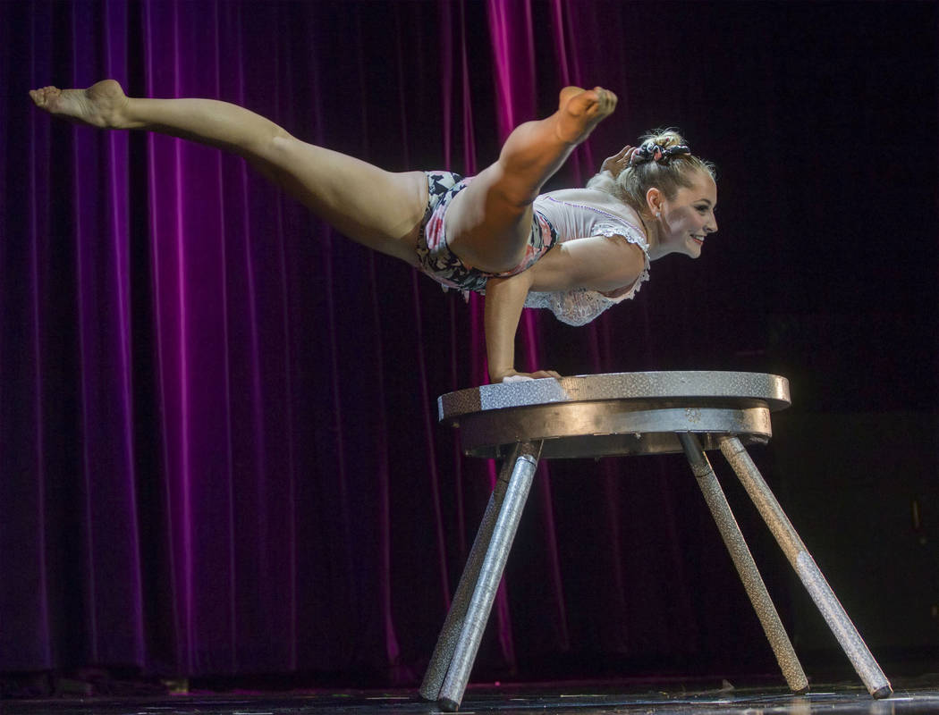 """Angie Ross performs """"Fairy Dance"""" during the International Congress of Contortionists on Wednesday, Sept. 5, 2018, at Sunset Station, in Las Vegas. Benjamin Hager Las Vegas Review-Journa ..."""