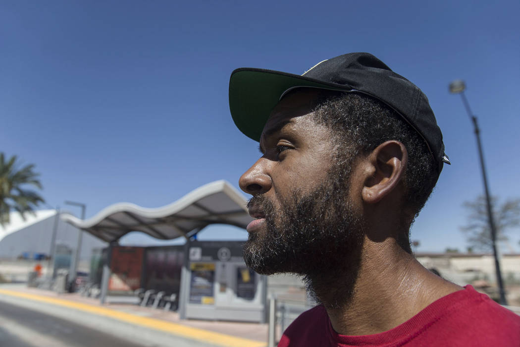 Licensed mental health therapist Sheldon Jacobs, posing as a homeless man, panhandles near South Grand Parkway and North City Parkway on Saturday, Sept. 1, 2018, in Las Vegas. Benjamin Hager Las V ...