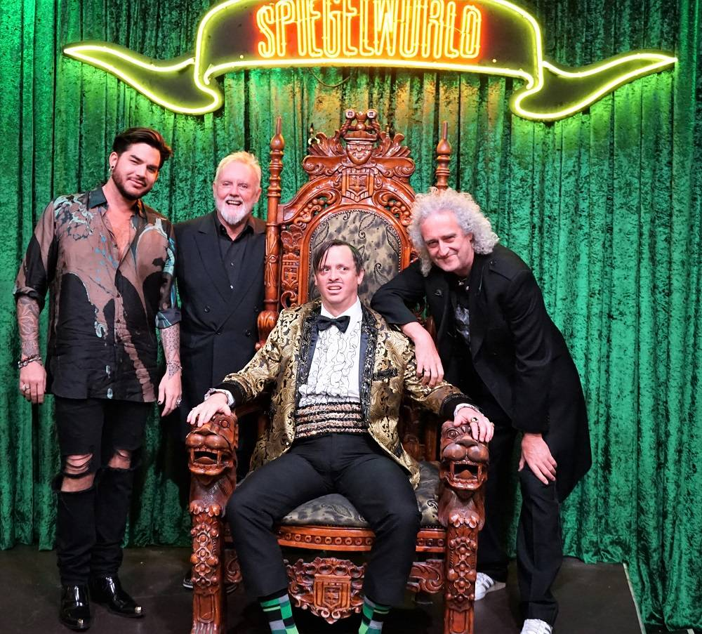 "Adam Lambert, Roger Taylor and Brian May of Queen are shown at ""Absinthe"" at Caesars Palace on Tuesday, Sept. 4, 2018. (Spiegelworld Photography)"