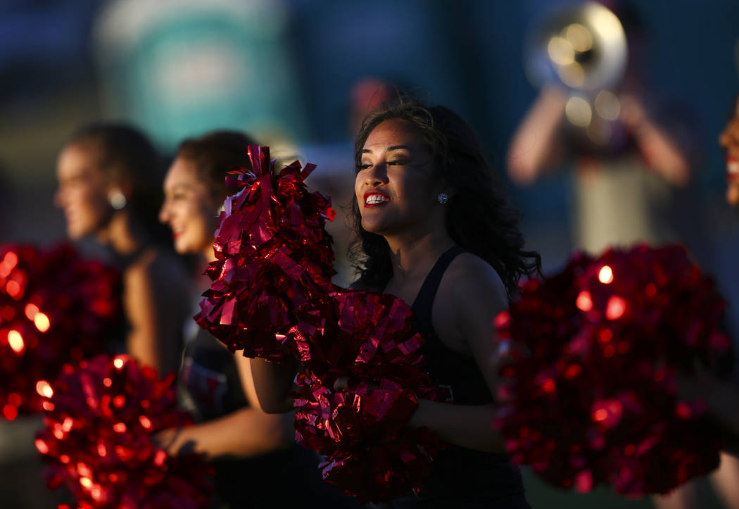 Members of the UNLV marching band and cheer perform before the start of a football game against Prairie View A&M Panthers at Sam Boyd Stadium in Las Vegas on Saturday, Sept. 15, 2018. Chase St ...