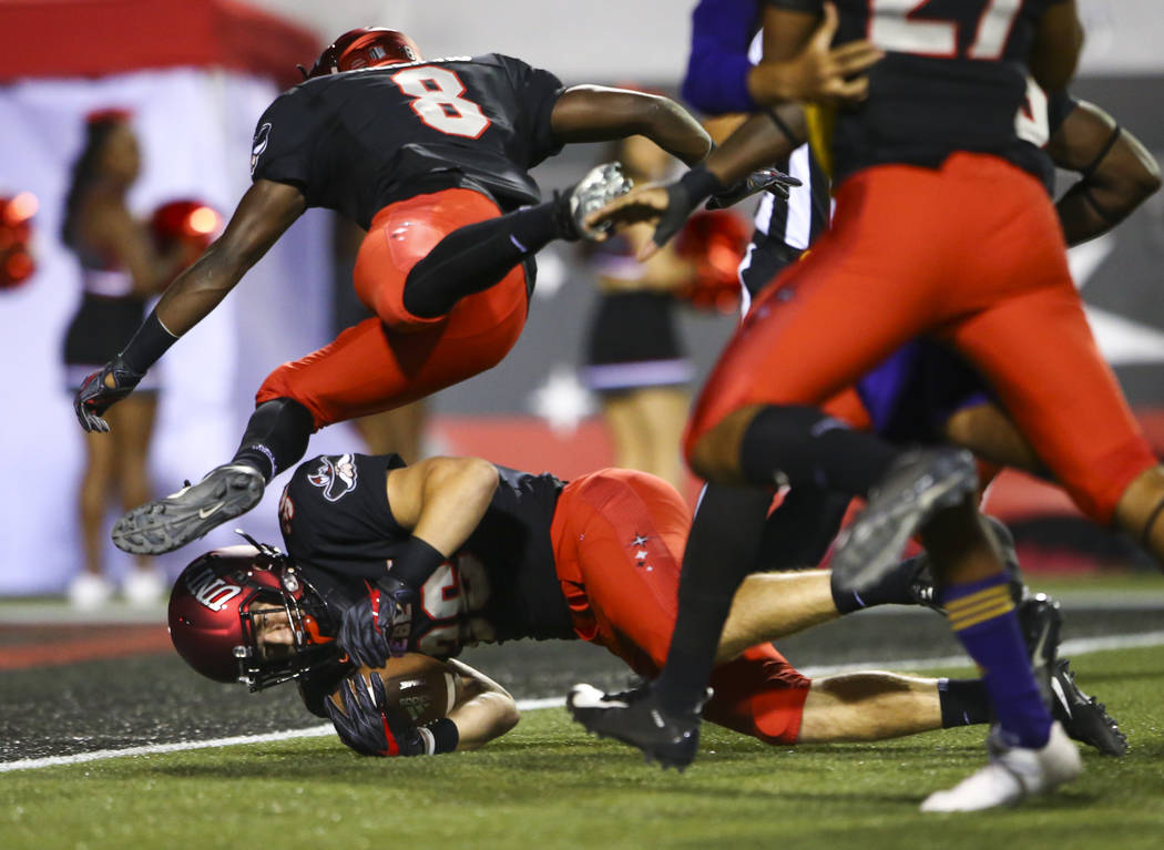 UNLV Rebels running back Chad Magyar (36) comes up short on a touchdown against the Prairie View A&M Panthers during the first half of a football game at Sam Boyd Stadium in Las Vegas on Satur ...
