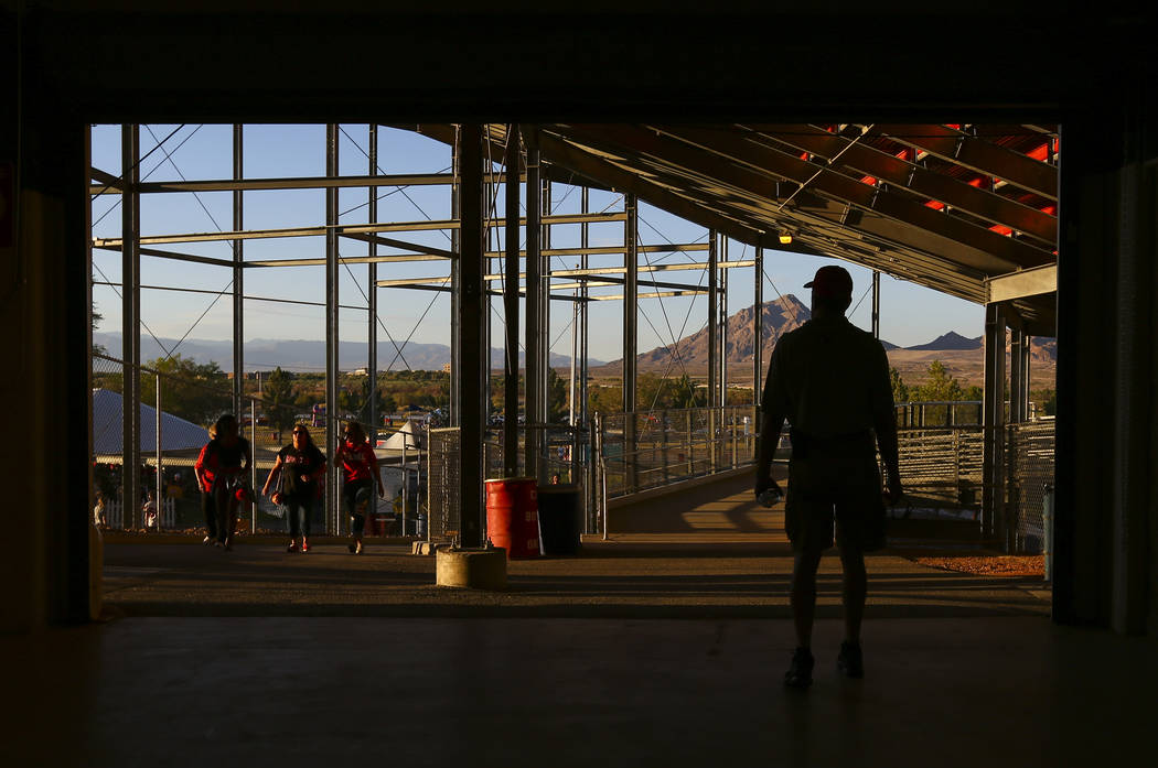 UNLV fans arrive for a football game at Sam Boyd Stadium between the UNLV Rebels and Prairie View A&M Panthers in Las Vegas on Saturday, Sept. 15, 2018. Chase Stevens Las Vegas Review-Journal ...