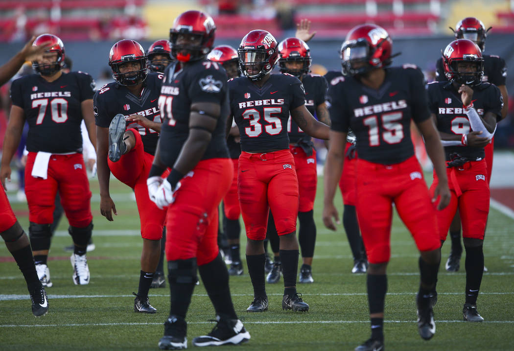 UNLV players warm up before a football game against Prairie View A&M Panthers at Sam Boyd Stadium in Las Vegas on Saturday, Sept. 15, 2018. Chase Stevens Las Vegas Review-Journal @csstevensphoto