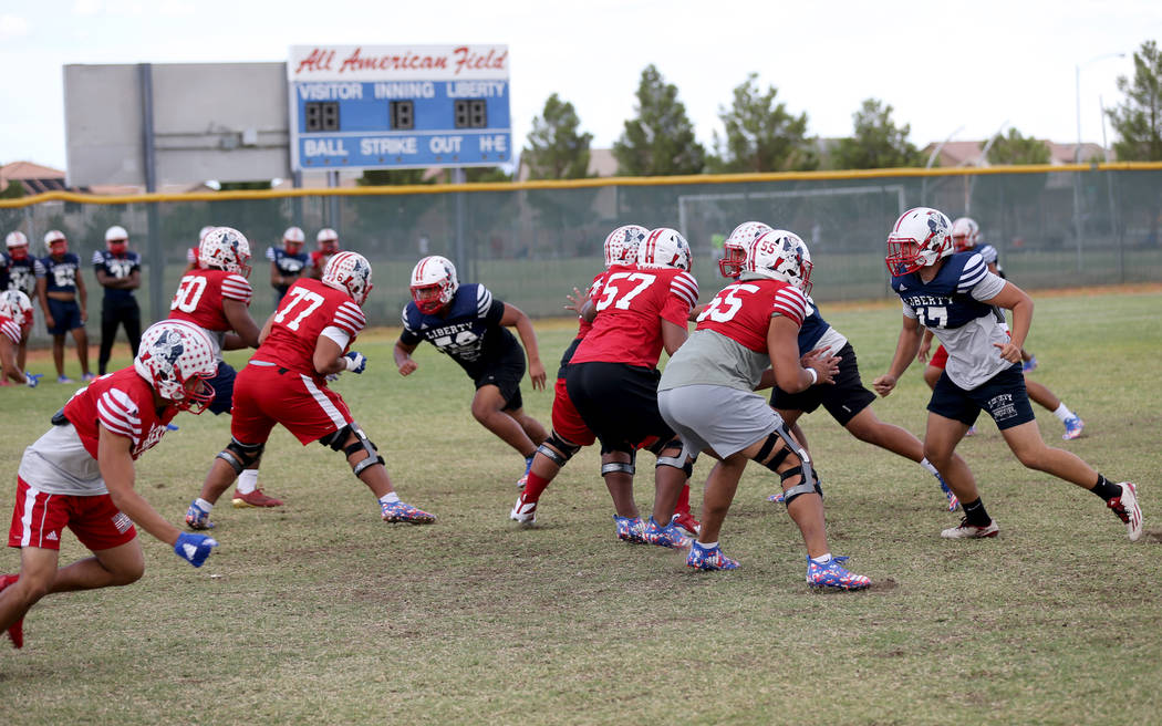 Liberty players during practice at the school in Las Vegas Wednesday, Sept. 5, 2018. K.M. Cannon Las Vegas Review-Journal @KMCannonPhoto