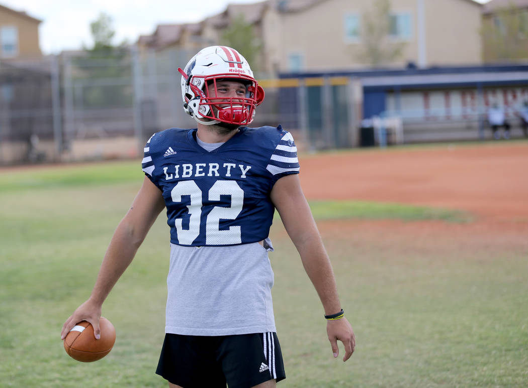 Liberty senior linebacker Kyle Beaudry, 32, during practice at the school in Las Vegas Wednesday, Sept. 5, 2018. K.M. Cannon Las Vegas Review-Journal @KMCannonPhoto