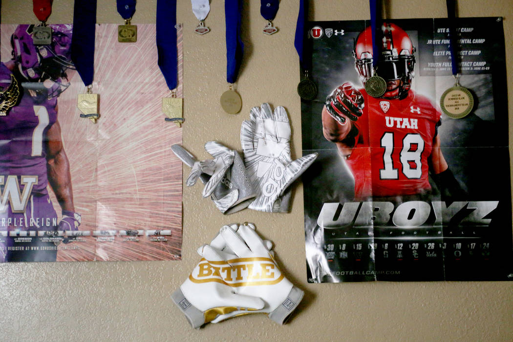 Medals and posters on the wall of the room of Darnell Washington and his brother Ezekiel Washington at their home in Las Vegas, Wednesday, Sept. 5, 2018. Rachel Aston Las Vegas Review-Journal @roo ...