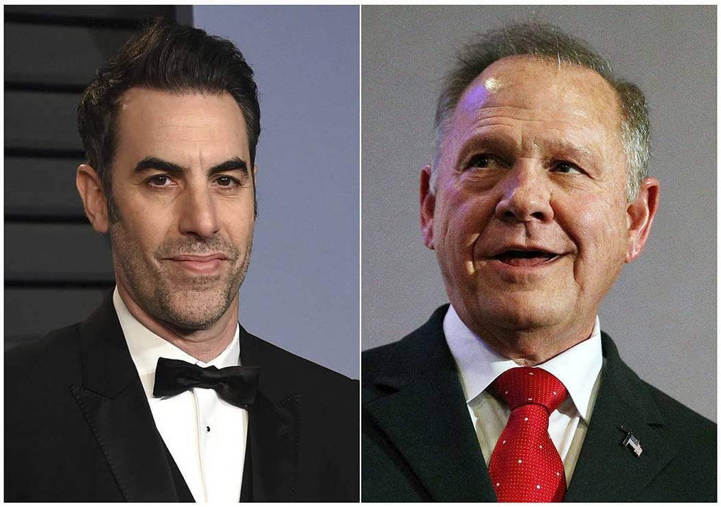 This combination photo shows Sacha Baron Cohen, left, at the Vanity Fair Oscar Party in Beverly Hills, Calif. on March 4, 2018, and former Alabama Chief Justice and U.S. Senate candidate Roy Moore ...