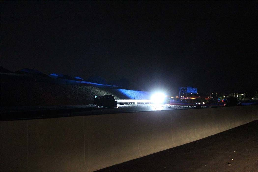 One person was killed when a wrong-way driver collided Thursday, Sept. 6, 2018, with another vehicle on the northbound 215 Beltway near Cheyenne Avenue. (Max Michor/Las Vegas Review-Journal)