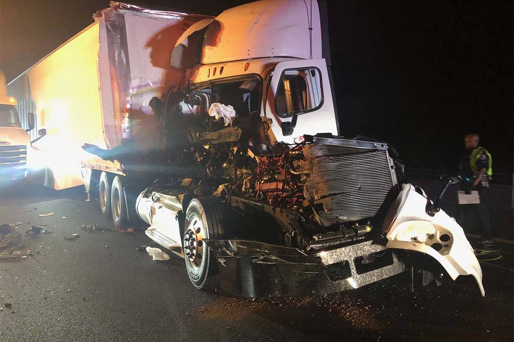 No one was killed in this Thursday, Sept. 6, 2018, accident on Interstate 11 near where two people were killed last week. (Nevada Highway Patrol)