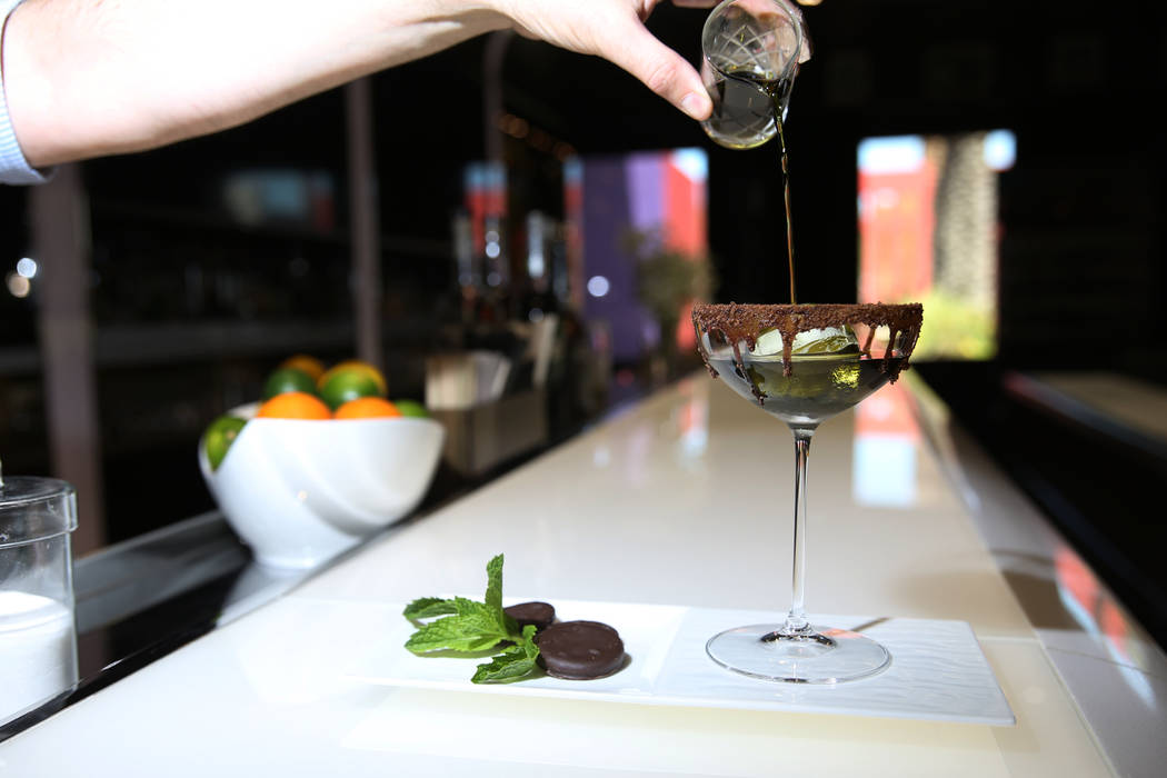 A Girl Scouts Thin Mints cookie inspired cookie created by Francesco Lafranconi is served with rum, bourbon, brown cocoa and greens mint liqueur at the Southern Glazer's Wine & Spirits headqua ...