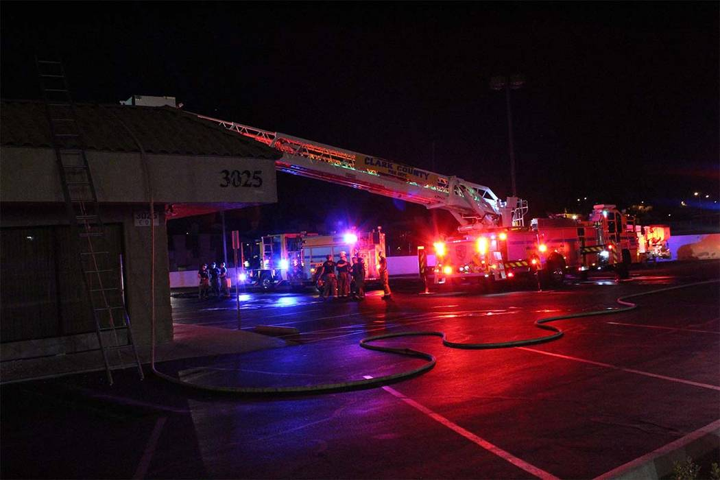 The cause of a fire Thursday, Sept. 6, 2018, at Casye Furniture, 3025 E. Desert Inn Road, is under investigation. (Max Michor/Las Vegas Review-Journal)