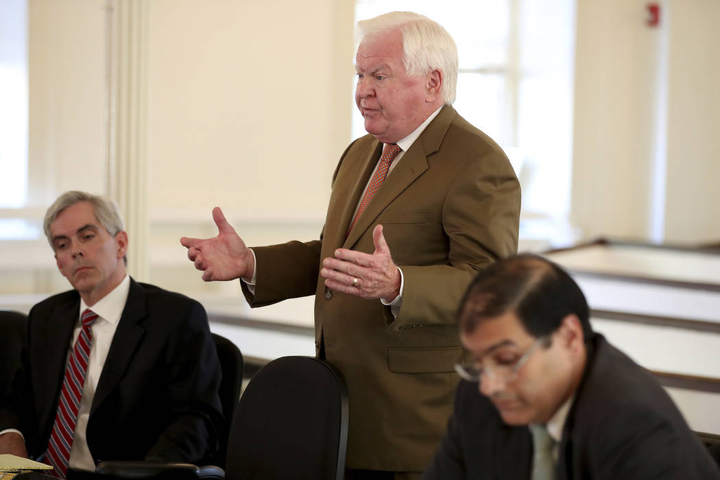 Christopher C. Fallon Jr., center, who is the lawyer for Johnny Bobbitt, argues for his client during a hearing on missing funds in his case in the Olde Historic Courthouse in Mt. Holly, NJ, Wedne ...