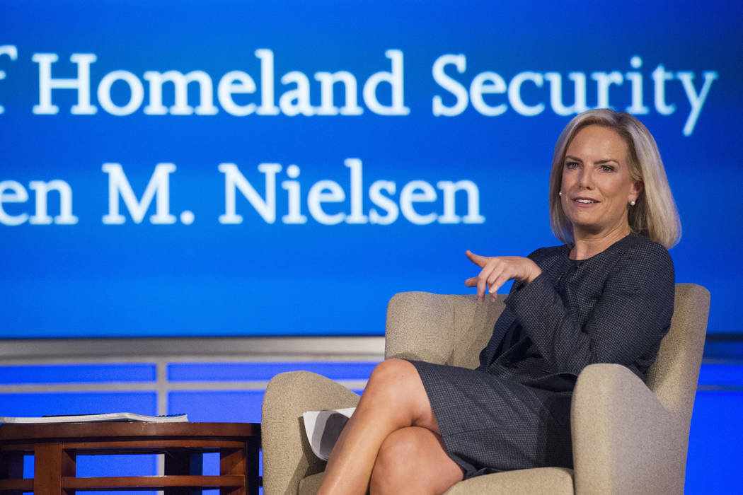 Secretary of Homeland Security Kirstjen Nielsen speaks to George Washington University's Center for Cyber and Homeland Security, in Washington, Wednesday, Sept. 5, 2018. (Cliff Owen/AP)