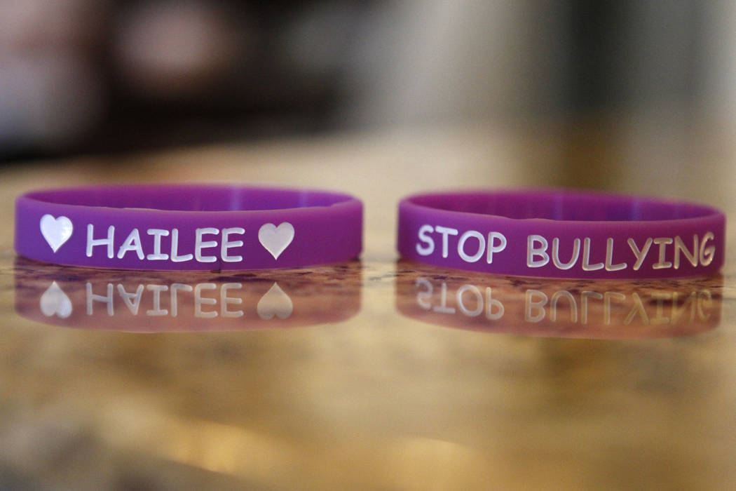Wristbands designed in memory of Hailee Lamberth are seen at her family's home in Henderson Tuesday, Oct. 21, 2014. Jason Lamberth and his wife, Jennifer, are filing a wrongful death lawsuit again ...