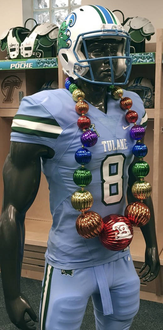 This undated photo provided by the Tulane Athletics Department shows the team's Takeaway Beads. (Tulane Athletics Department via AP)