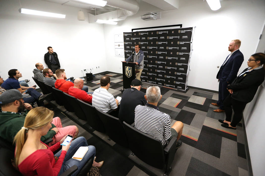 Golden Knights general manager George McPhee speaks during a press conference at City National Arena in Las Vegas, Thursday, Sept. 6, 2018. Erik Verduzco Las Vegas Review-Journal @Erik_Verduzco