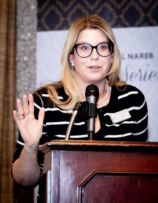 Melissa Fama-Flis, marketing director, Nevada, for Century Communities, moderates the NAREB event, the first in a three-part series on luxury real estate. (Tonya Harvey RJRealEstate.Vegas)