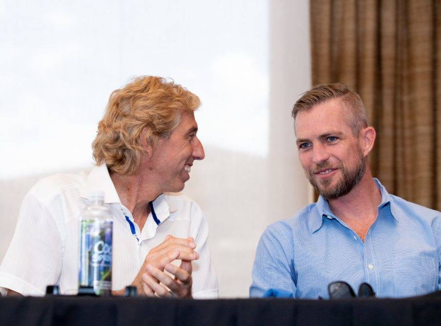 From left, Dan Coletti, owner of Sun West Custom Homes, and Tyler Jones, founder and owner of Blue Heron Design/Build talk during a Sept. 5 panel on luxury real estate.