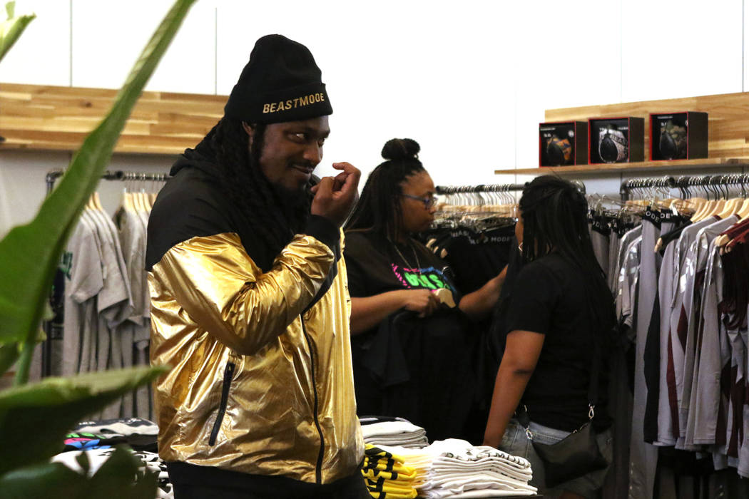 Oakland Raiders running back Marshawn Lynch gestures during the grand opening of his store, Beastmode, in Town Square Las Vegas, Saturday, Sept. 1, 2018. Heidi Fang Las Vegas Review-Journal @HeidiFang