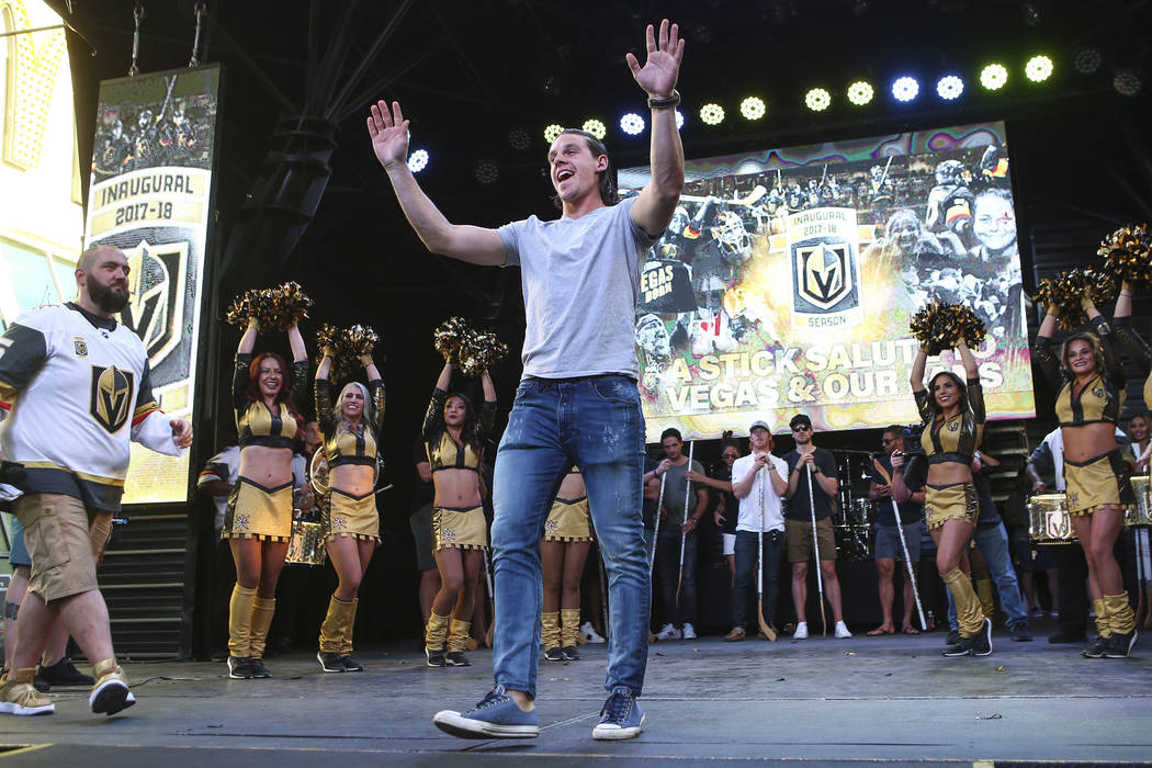 "Golden Knights left wing Erik Haula celebrates during the ""Stick Salute to Vegas and Our Fans"" held by the Golden Knights at the 3rd Street Stage at the Fremont Street Experience in down ..."