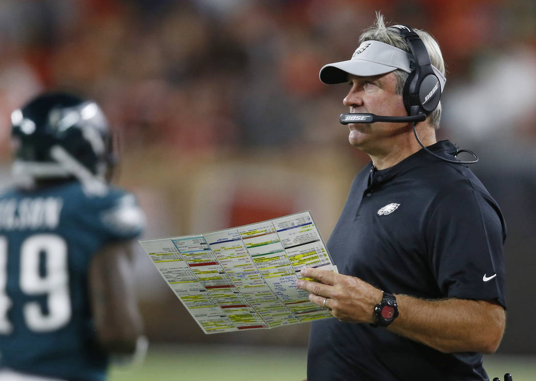 Philadelphia Eagles coach Doug Pederson watches during the second half of the team's NFL preseason football game against the Cleveland Browns, Thursday, Aug. 23, 2018, in Cleveland. (AP Photo/Ron ...