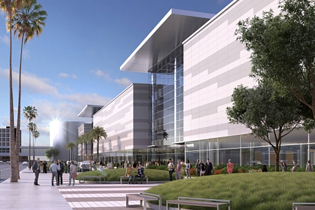 Rendering showing conceptual images of the Las Vegas Convention Center after its planned overhaul. View of the facility from Paradise Road. (Las Vegas Convention and Visitors Authority)
