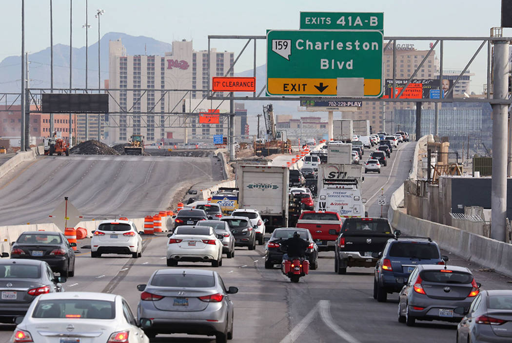Traffic backs up in the northbound lanes of Interstate 15, near the Charleston Boulevard exit in Las Vegas on Tuesday, March 13, 2018, during the Project Neon expansion. (Bizuayehu Tesfaye/Las Veg ...