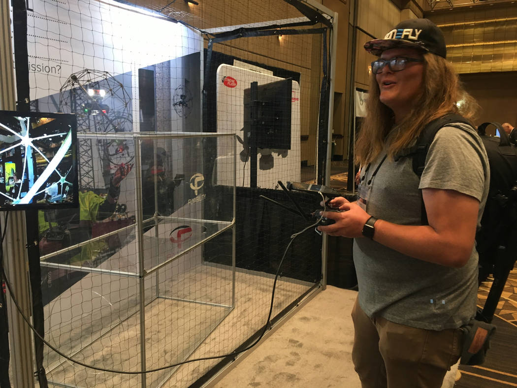 Drone consultant Trent Siggard flies a drone through an obstacle at the 2018 InterDrone conference at the Rio in Las Vegas on Thursday, Sept. 6, 2018. Bailey Schulz/Las Vegas Review-Journal