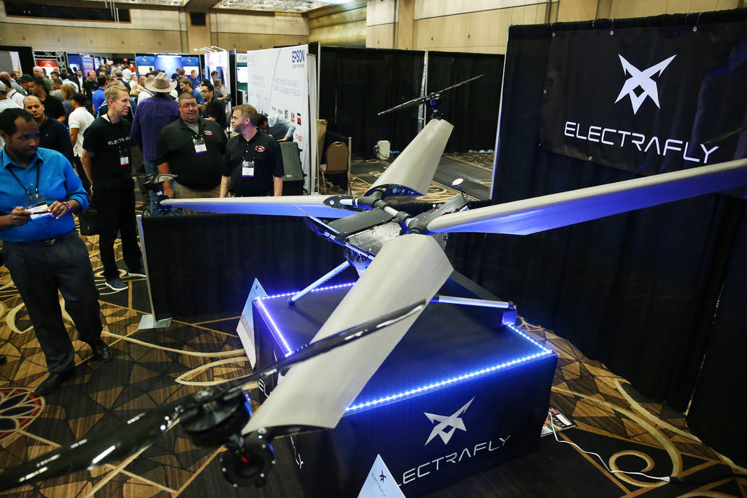 Electrafly drone is displayed during the InterDrone convention at the Rio hotel-casino in Las Vegas, Wednesday, Sept. 5, 2018. Erik Verduzco Las Vegas Review-Journal @Erik_Verduzco