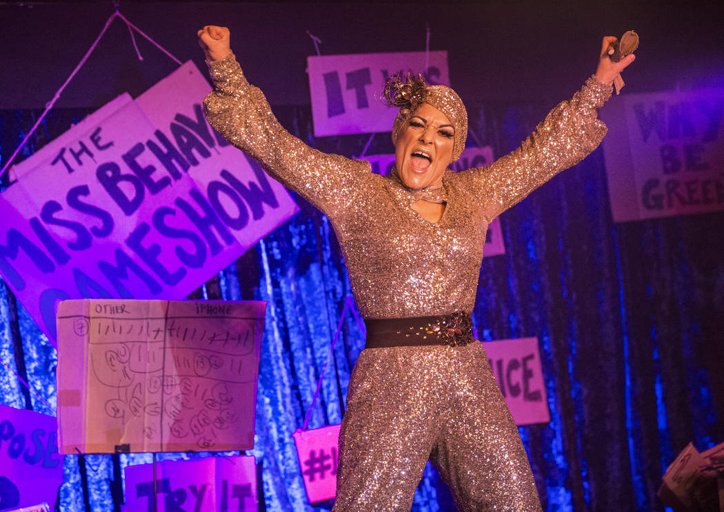 Amy Saunders get the crowd pumped up during The Miss Behave Gameshow at The Back Room on Thursday, Aug 10, 2017, at Bally's hotel-casino, in Las Vegas. Benjamin Hager Las Vegas Review-Journal @ben ...