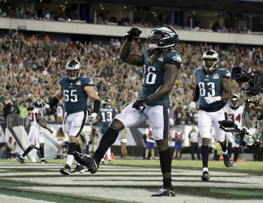 Philadelphia Eagles' Jay Ajayi celebrates after scoring a touchdown during the second half of an NFL football game against the Atlanta Falcons on Thursday, Sept. 6, 2018, in Philadelphia. (AP Phot ...